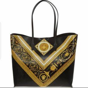 New Versace Black Printed Leather Tote Bag
